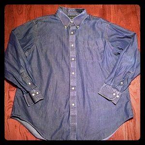 """LAUREN Ralph Lauren 17.5"""" 34/35"""" Denim Jeans Shirt"""